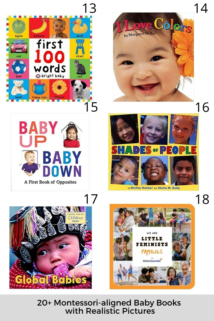 20+ Montessori-aligned Baby Books with Realistic Pictures