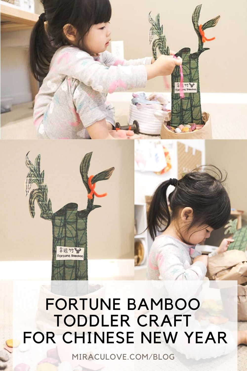 Fortune Bamboo Toddler Craft for Chinese New Year