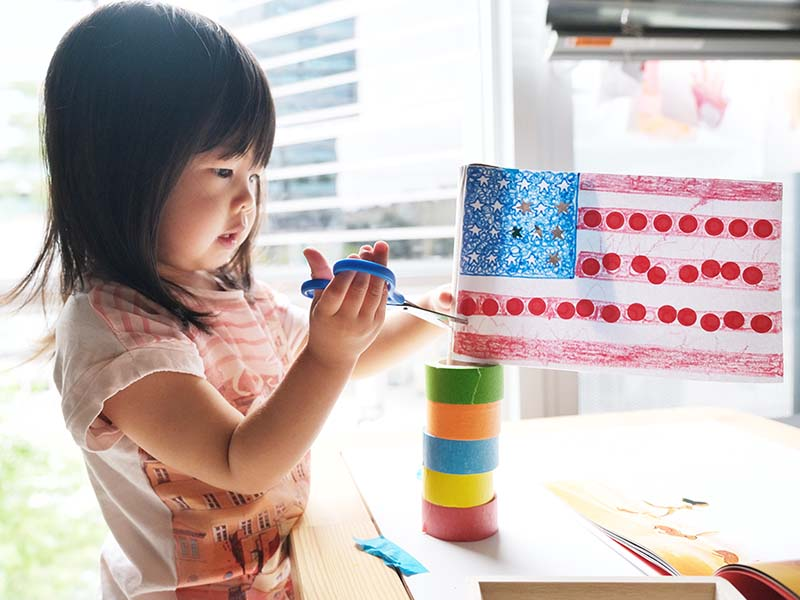 4th of July American Flag Fine Motor Craft for Toddlers