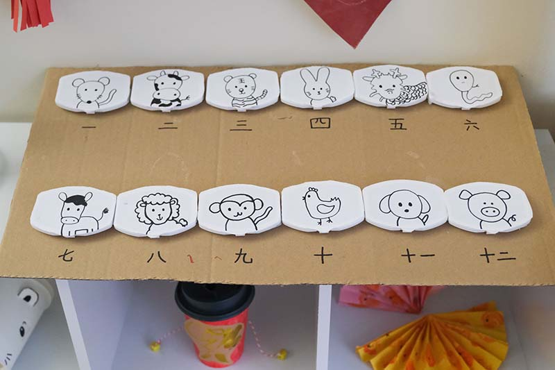 12 Chinese Zodiac Animals Interactive Learning Board for Toddlers