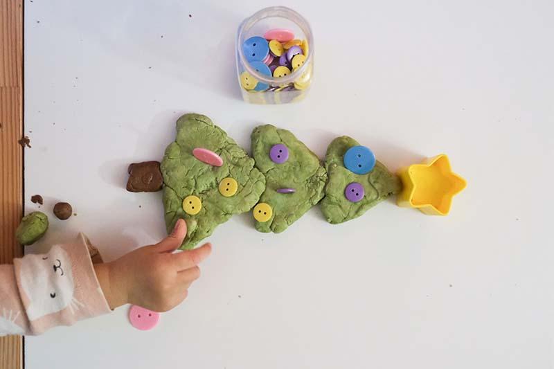 Buttons and Play Dough Sensory Christmas Tree Play