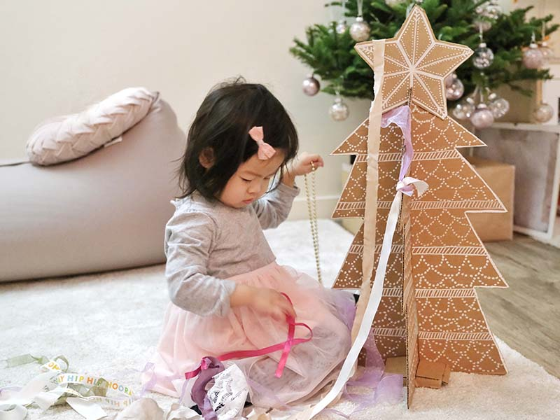 Cardboard Christmas Tree Decoration Fine Motor Activity with Toddler