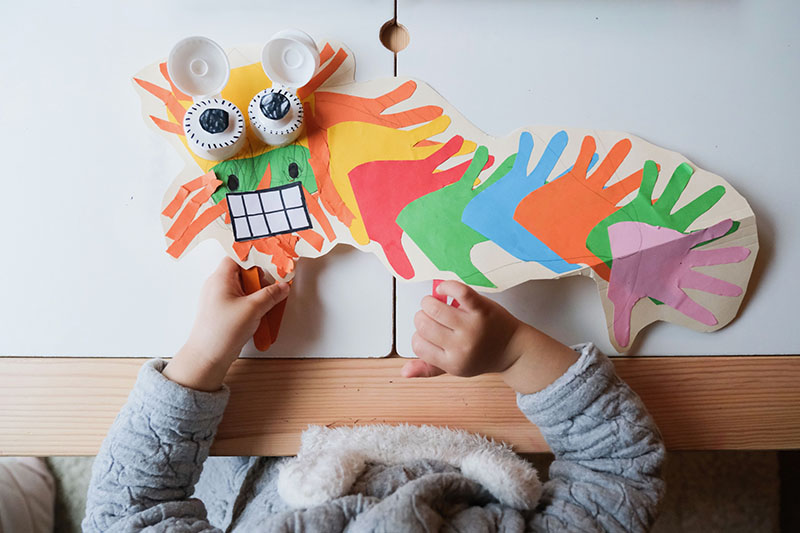 Chinese New Year Dragon With Blinking Eyes Toddler Craft
