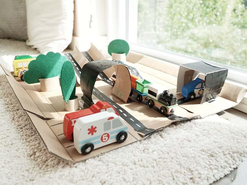 DIY Cardboard Car Playtown for Toddler Play
