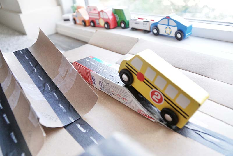 DIY Cardboard Car Playtown for Toddler Play