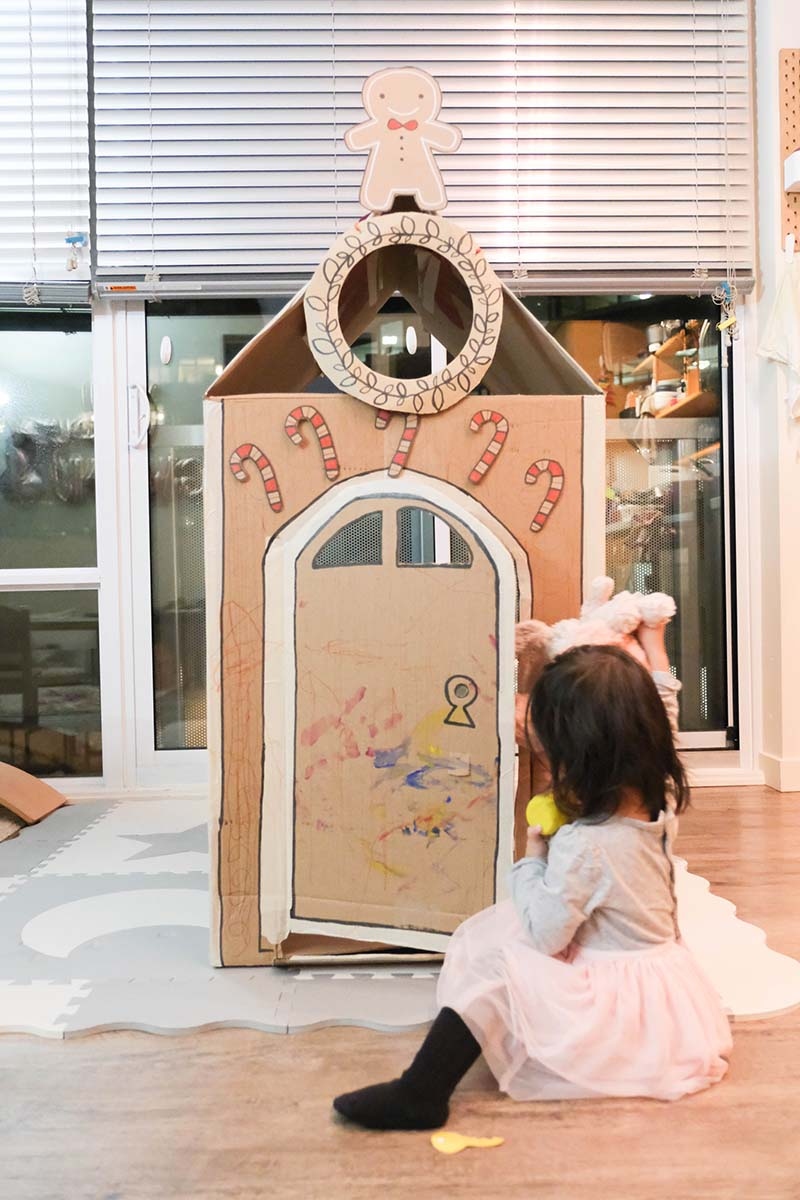 DIY Gingerbread Man Cardboard House for Toddlers