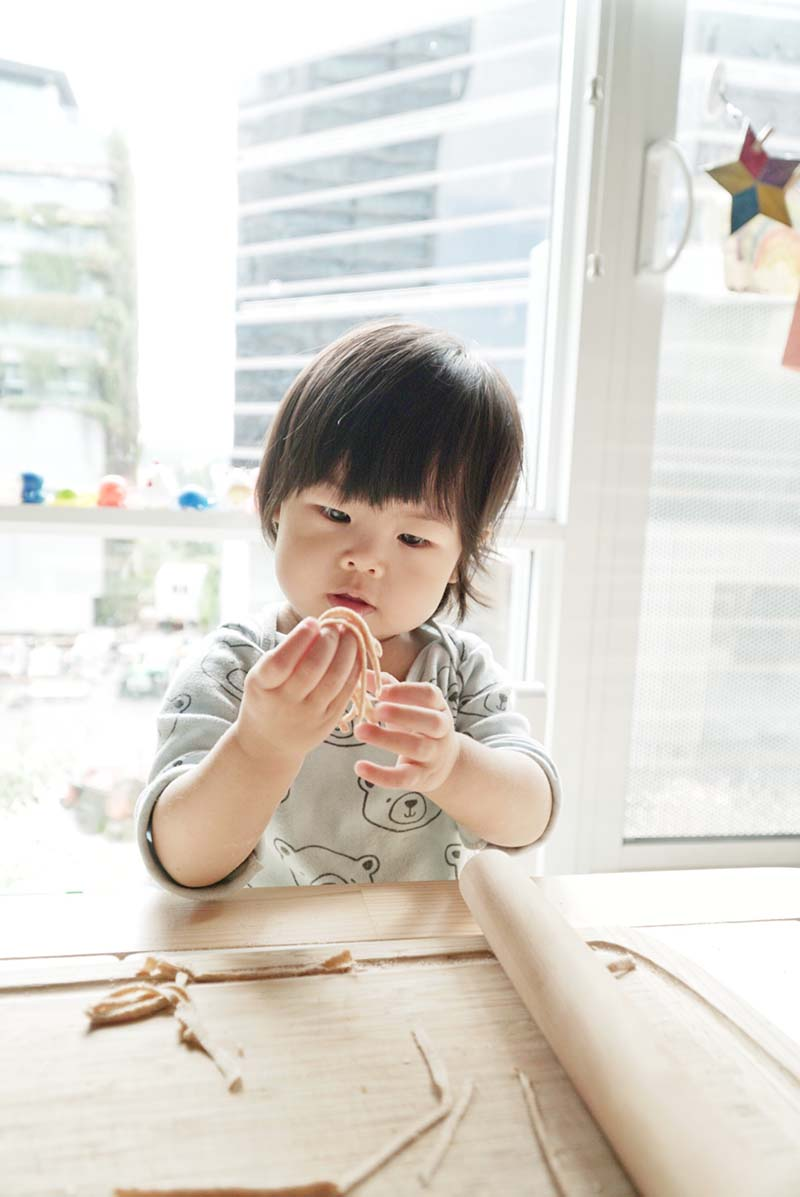 Making 2 Ingredient Chinese Wheat Noodles with Toddler