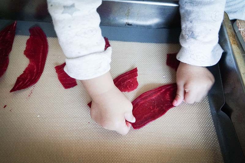 Making Healthy Baked Beet Chips with Toddler
