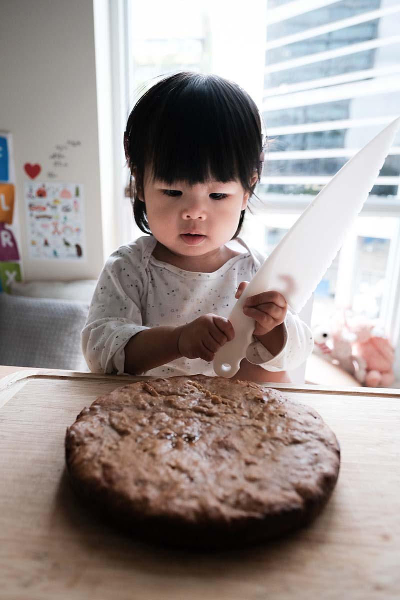 Making Healthy Honey Cake with Toddler
