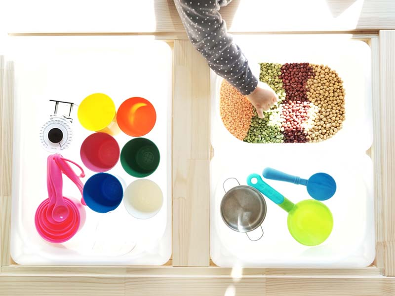 No Prep Colorful Beans Sensory Play for Toddlers