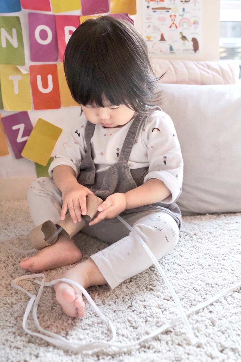 Paper Rolls First Threading Young Toddler Activity