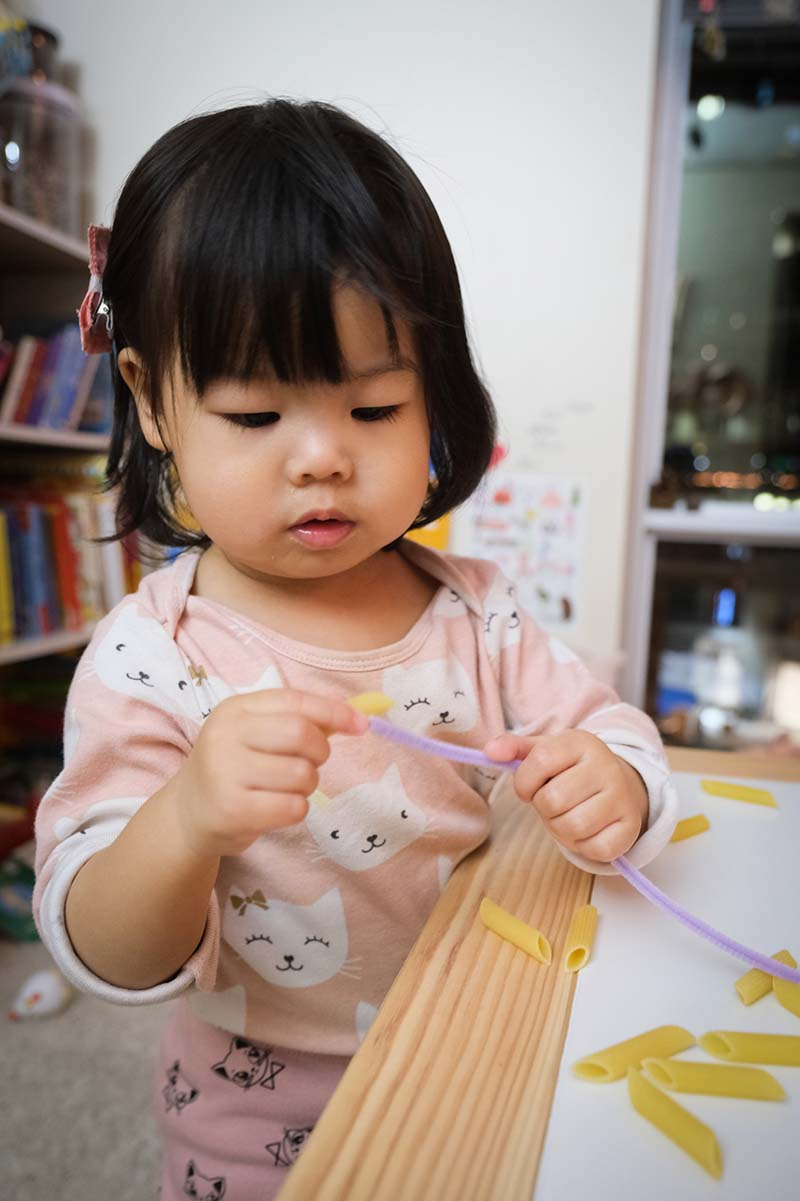 Pipe Cleaner Penne Pasta Threading Activity for Toddlers