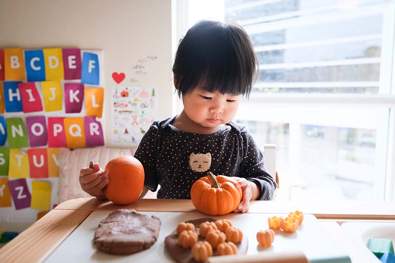 Growing Pumpkin Patch Pretend Play with Young Toddler
