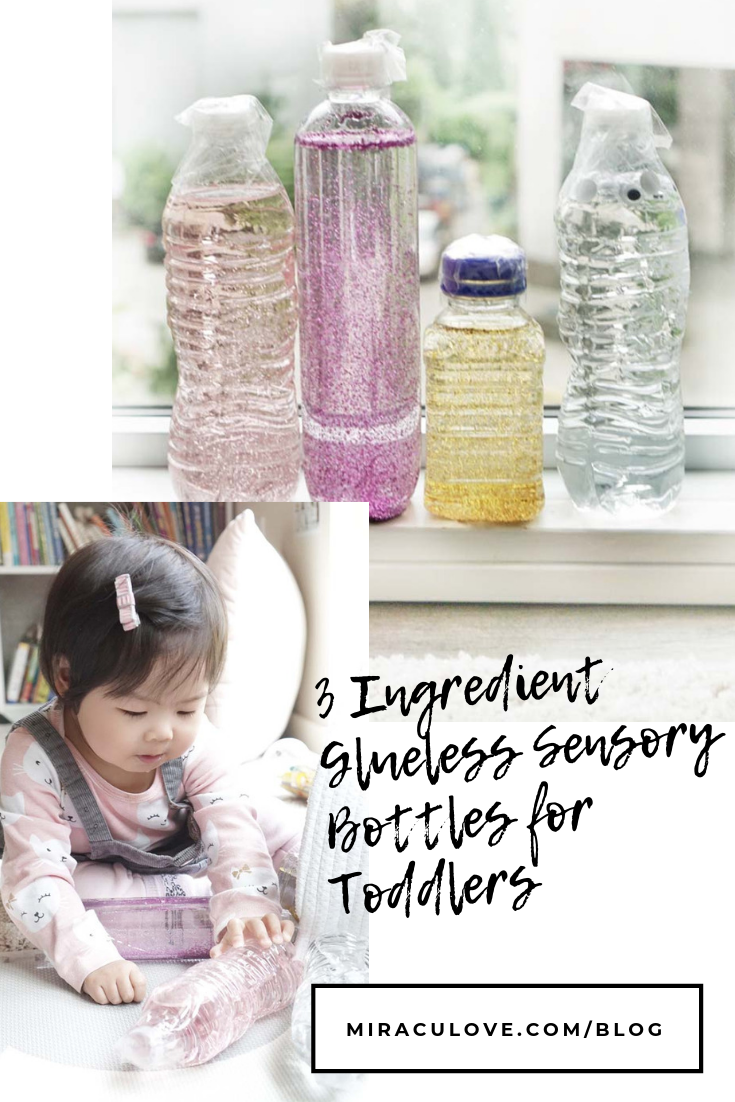 3 Ingredient Glueless Sensory Bottles for Toddlers