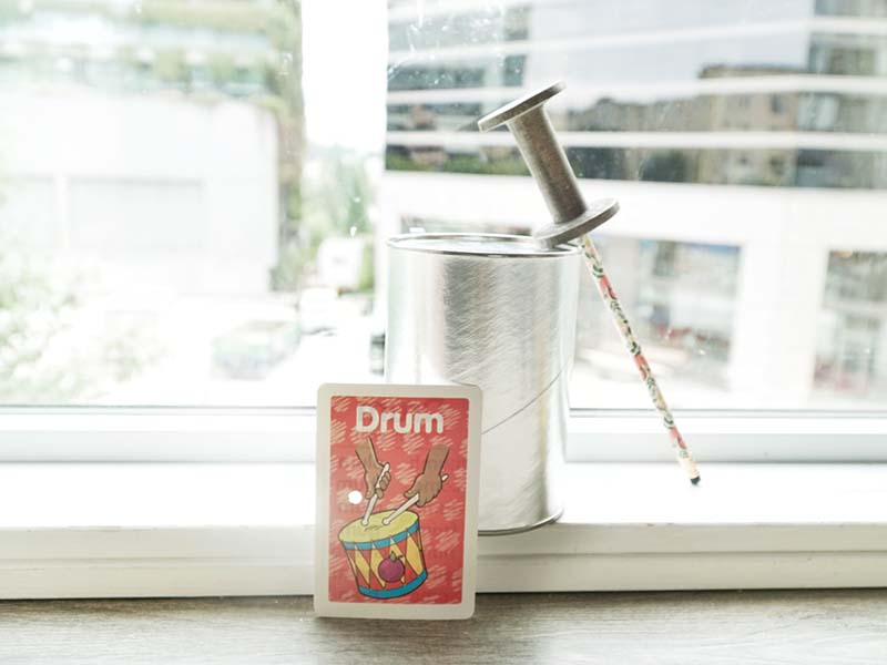 Trying Out DIY Musical Drum for Young Toddlers