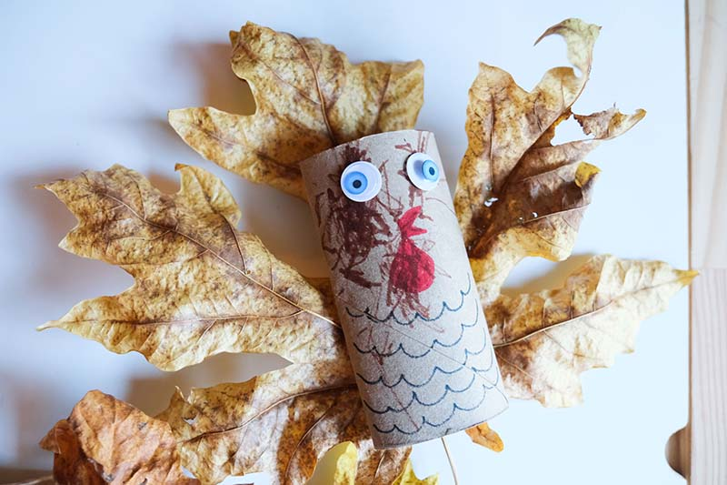 Thanksgiving Turkey Craft with Fall Leaves Toddler Activity