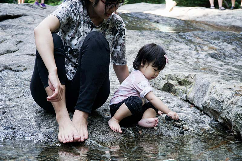 Visiting Denny Creeks Natural Waterslides with Young Toddler
